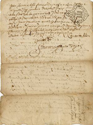 Obligation de Bonnet Delbex : verso (1738)